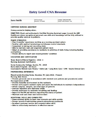 Cna Resume Template by Sle Cna Resume 9 Exles In Word Pdf