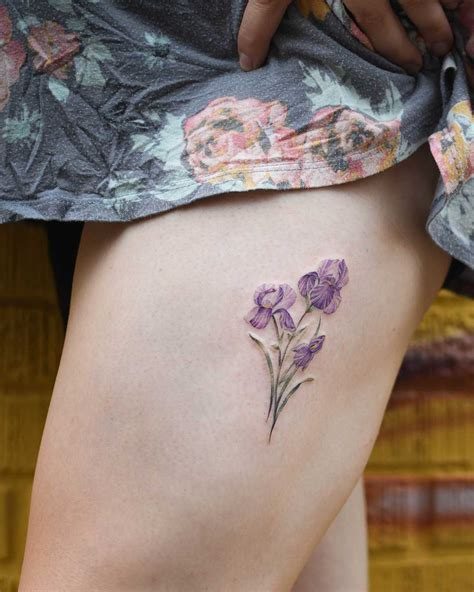 iris flowers tattoo   thigh tattoogridnet