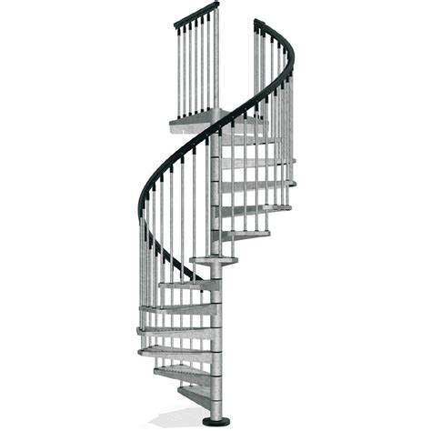 spiral staircase lowes shop arke enduro 47 in x 10 ft gray spiral staircase kit at lowes com