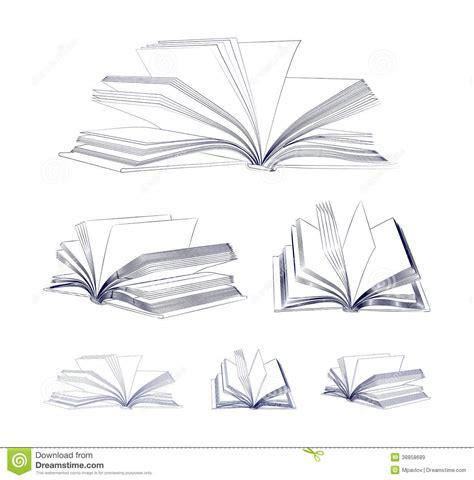 open book sketch set stock vector image