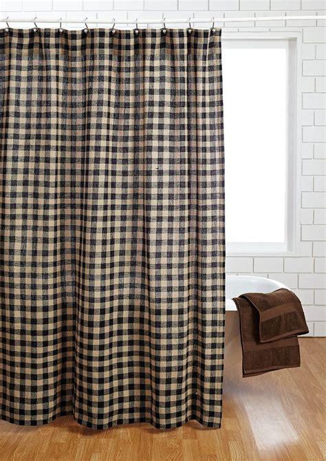 primitive shower curtains burlap black check shower curtain primitive