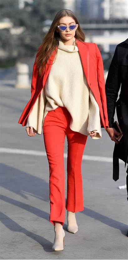 Gigi Hadid Milan Street Inspirations Outfits Leaves