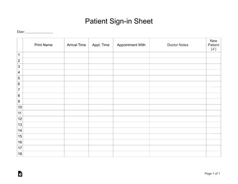 patient sign in sheet extended template eforms free