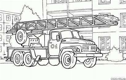 Coloring Fire Truck Scania Ladder Rescue Automatic