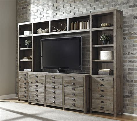 custom white wall unit with bookshelves a customer favorite in southern keeblen grayish brown entertainment wall unit from