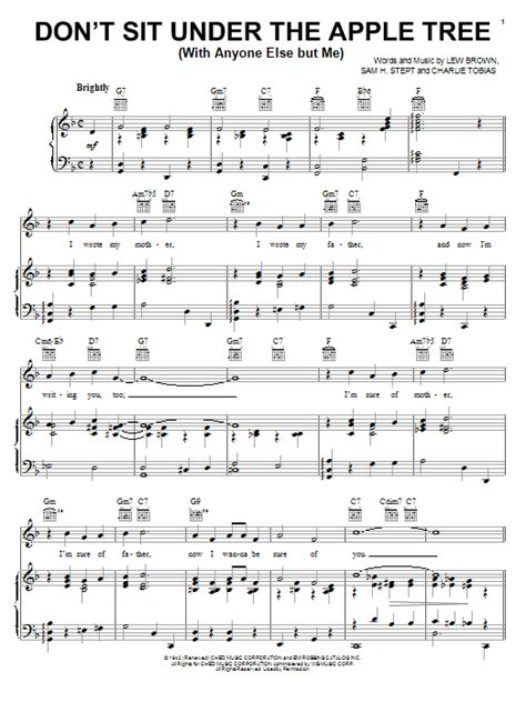lew brown don t sit the apple tree with anyone else but me sheet music