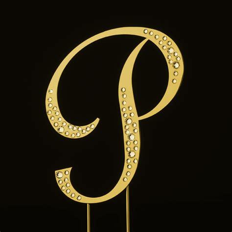 sparkle swarovski crystal wedding cake topper gold letter p