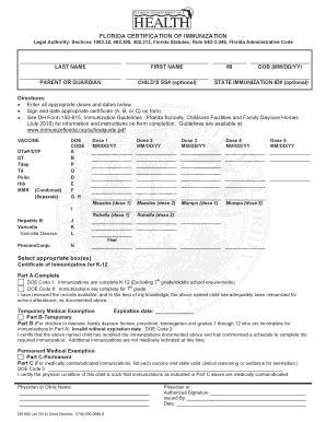 florida certification immunization form immunization form florida fill online printable