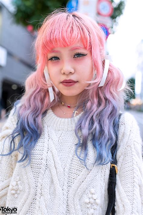 Dip Dye Hair Cable Knit Sweater Prada And Jeffrey Campbell