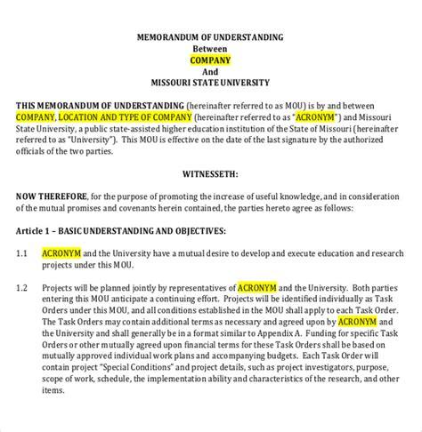 memorandum of understanding template word memorandum of understanding template 14 free word pdf documents free premium