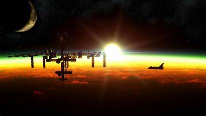 Space Spaceship Station Wallpapers Sun Approaching Iss