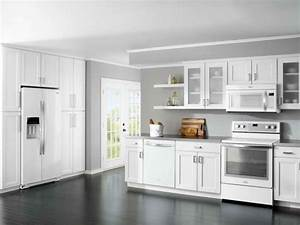 best white kitchen cabinet color schemes for dark wood floors with gray wall paint ideas 1045