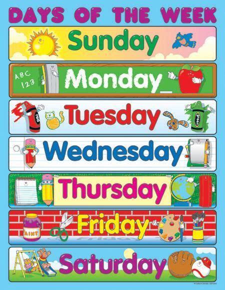 carson dellosa days of the week chart ollie s 655 | eda80f142635427f6f376875cd244ef7 preschool supplies preschool prep