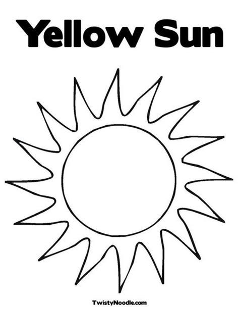 Yellow Sun Coloring Page from TwistyNoodle.com | Sun
