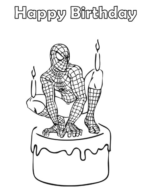 spiderman birthday cake coloring page   coloring pages