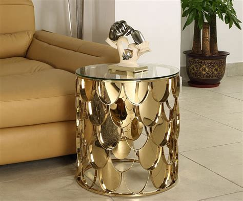 Coffee Side Tables Living Room Furniture by Gold Color Stainless Steel Glass Coffee Table Living