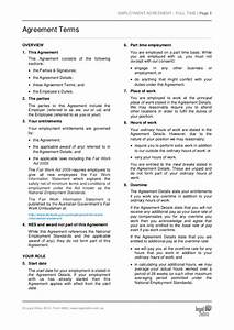part time employment agreement template sample With full time employment contract template