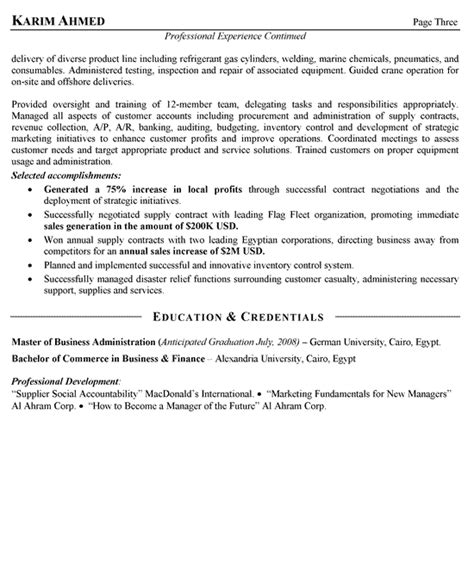 sle of resume format for abroad international sales resume exle