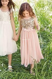 2015 blush flower girls dresses gold sequins hand made With little girl in wedding dress pinterest
