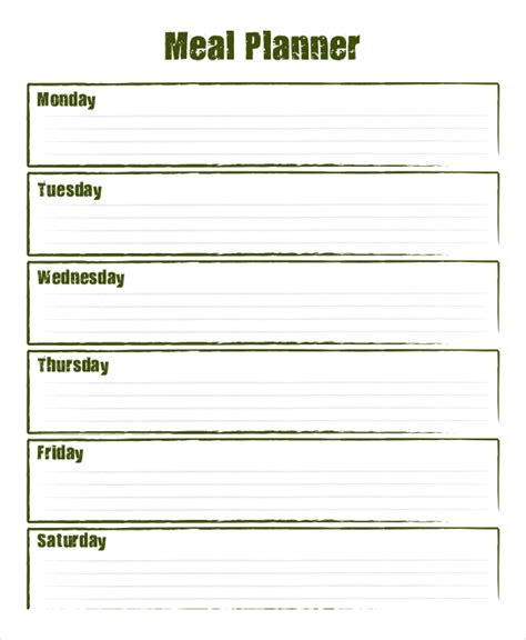 weekly meal planner    psd documents