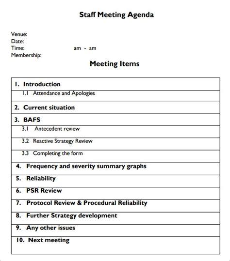 sample staff meeting agenda   format