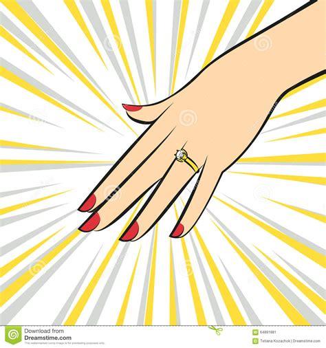 wedding ring  hand pop art style stock vector image