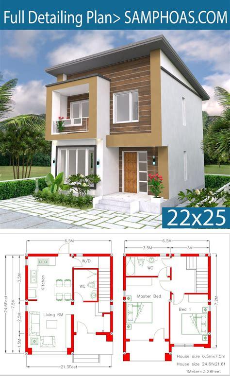 Home Design Plan 6 5x7 5M 2 Bedrooms A2 SamPhoas