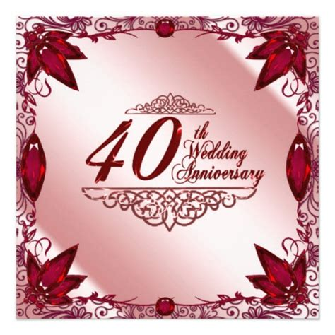 40th wedding anniversary 40th wedding anniversary invitation 13 cm x 13 cm square invitation card zazzle