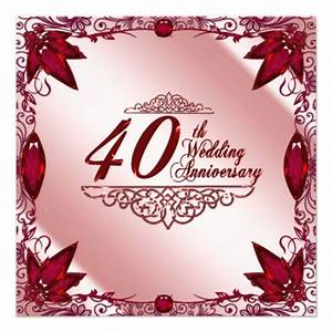 40th Wedding Anniversary Invitation 13 Cm X 13 Cm Square ...