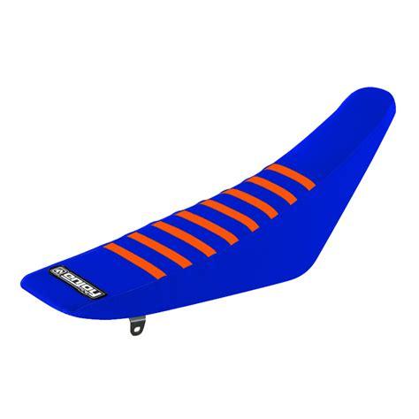 housse de selle motocross grip enjoy ribbed ktm bleu orange fx motors