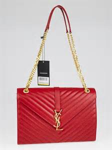 yves saint laurent red chevron quilted leather large monogram chain cassandre bag yoogis closet
