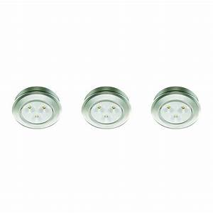 Commercial electric 299 in led silver battery operated for Outdoor battery operated puck lights