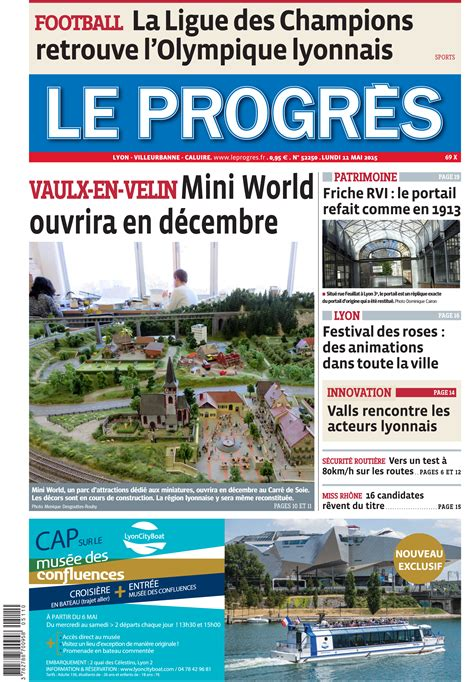 article dans le journal quot le progr 232 s de lyon quot du lundi 11 mai 2015 le journal de mini world lyon