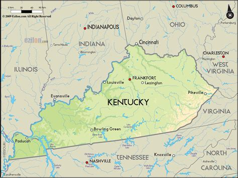 geographical map  kentucky  kentucky geographical maps