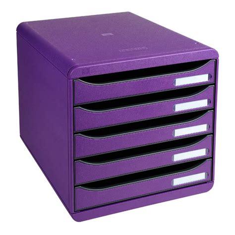 banette rangement bureau module de classement big box plus 5 tiroirs violet