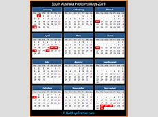 South Australia Australia Public Holidays 2019
