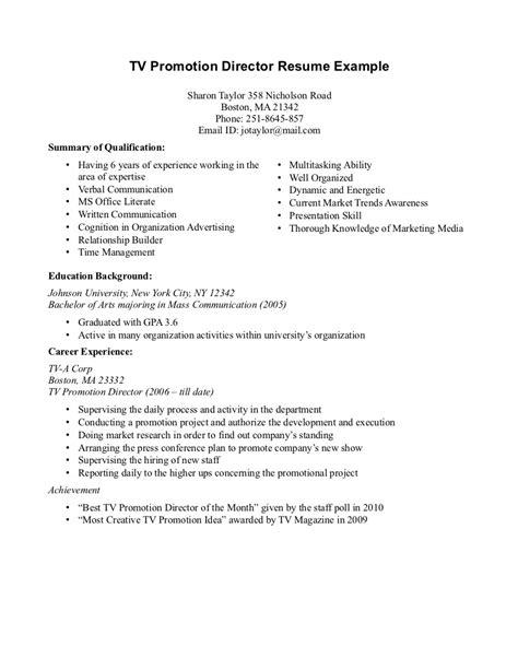 promotional resume sle best letter sle