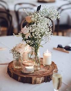 Deko Für Vasen : tischdekoration hochzeitsdekoration rustikal baumscheibe mit wiesenblumen in kleinen vasen ~ Indierocktalk.com Haus und Dekorationen