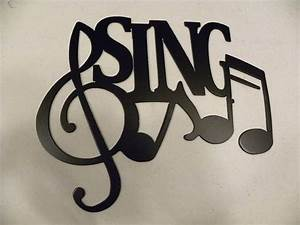 Custom sing word with notes metal wall art music decor by