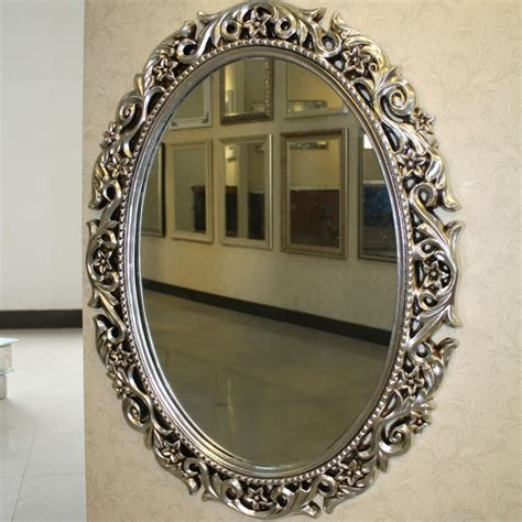 pu oval bathroom mirrors with carved flowers traditional