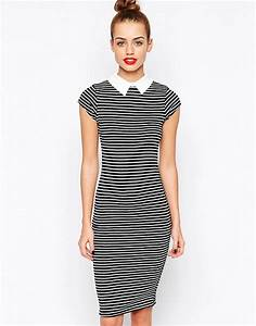 new look new look striped midi bodycon dress With robe midi moulante