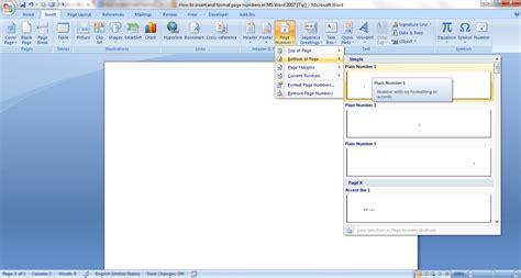 how to add a template to word how to insert and format page numbers in ms word 2007 tip reviews news tips and tricks