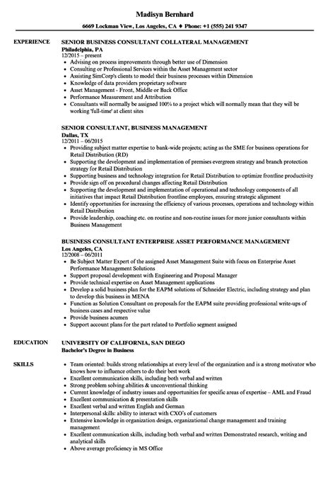 Business Consultant Resume by Business Management Consultant Resume Sles Velvet