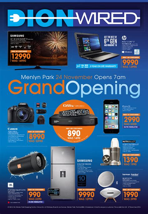 dion wired menlyn grand opening specials  nov