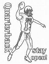 Coloring Football Printable Quarterback Player Sheets Bowl Super Sunday Alabama Manning Peyton Template Tide Crimson Greenbay Nfl Ecoloringpage Popular Disimpan sketch template