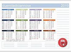 Calendario 2019 Da Stampare Con Festivita Santi E Fasi Lunari