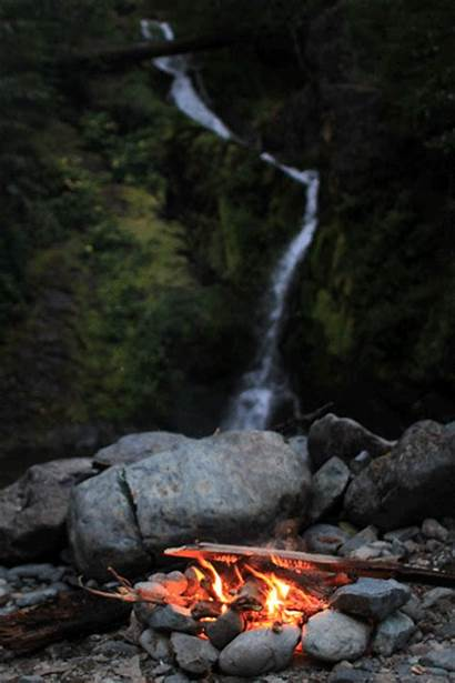 Nature Fire Campfire Gifs Water Waterfall Creek