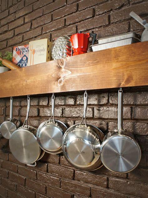 diy kitchen storage shelf  pot rack hgtv