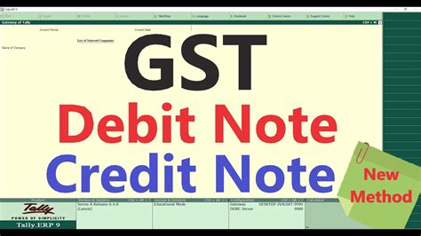 gst debit credit note  tally youtube