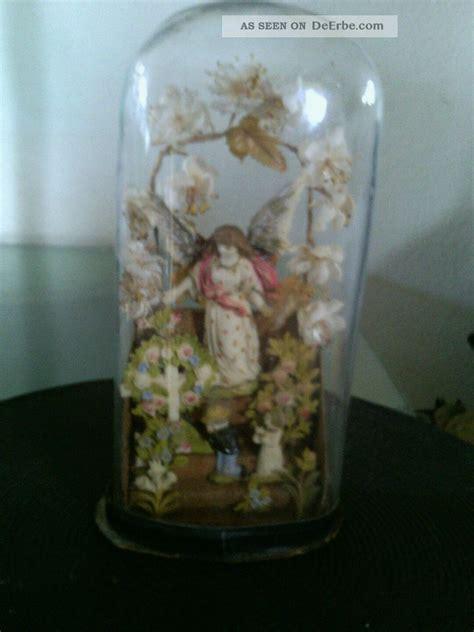 glassturz antik schutzengel mit kindern
